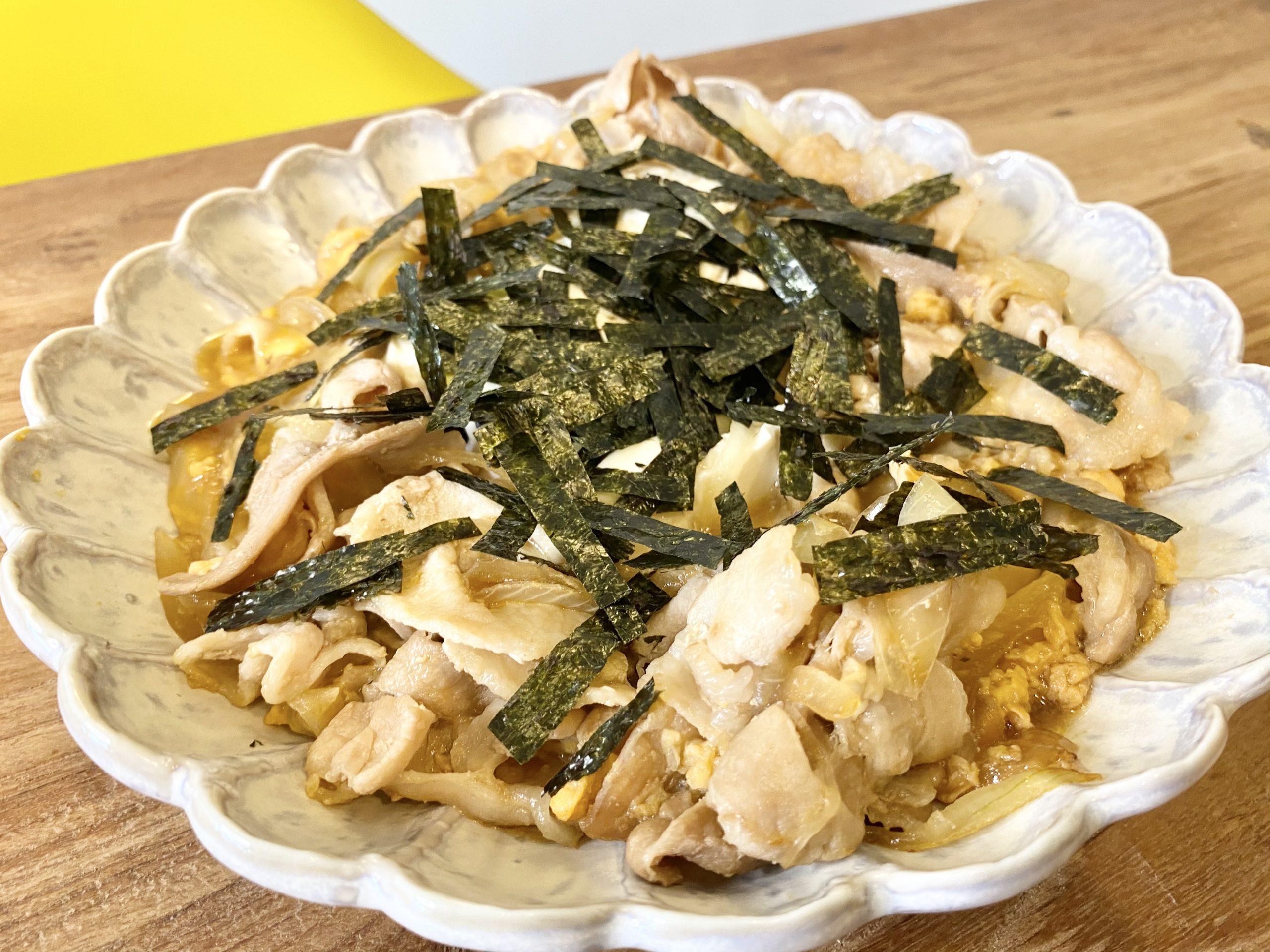 簡単10分調理!「豚バラと豆腐のとろとろ卵とじ」のレシピ