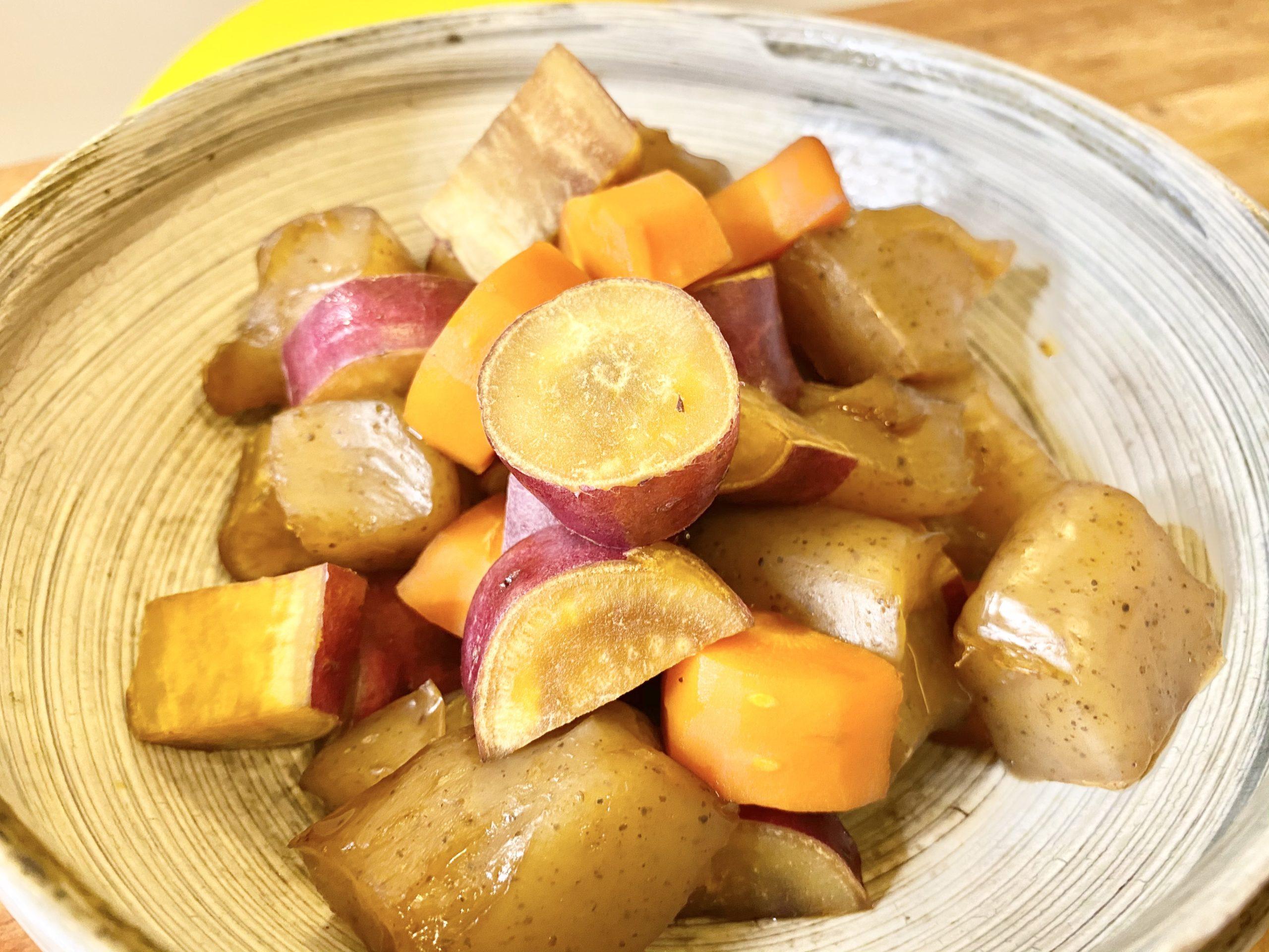 たっぷり食物繊維!「さつまいもとこんにゃくの簡単煮物」のレシピ