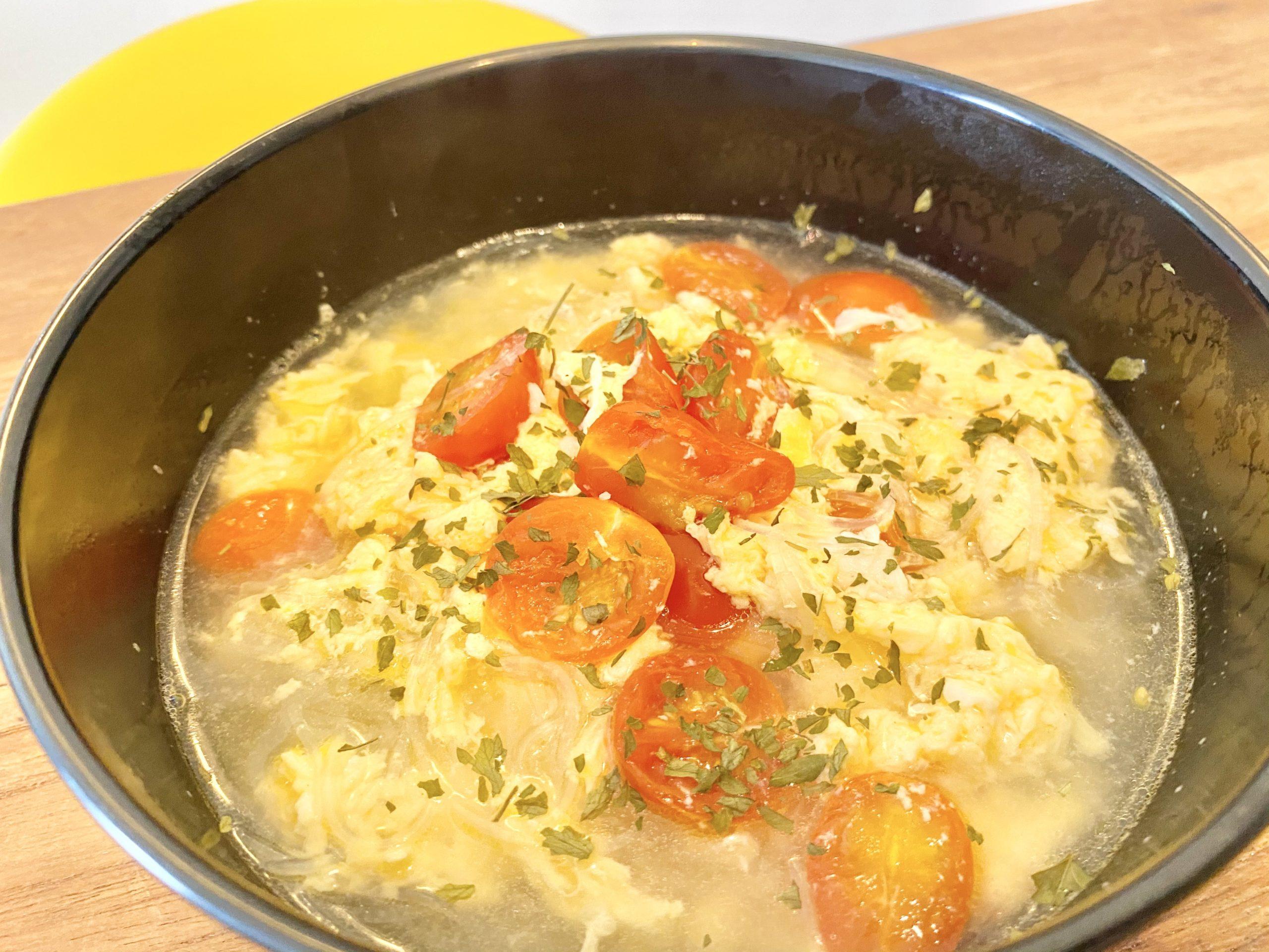 たっぷりリコピン!「トマトと卵の中華風春雨スープヌードル」のレシピ